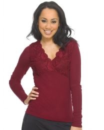 Superfine Merino Crossover Lace Top